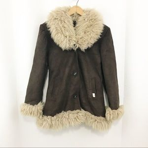 Vintage Suede Shearling Jacket Curly Lamb Collar